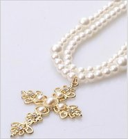 Wholesale Retro length with pearl cross necklace Korean version of the long section Alloy Fashion sweater chain