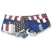 american flag spandex pants - New Design Sexy American US Flag Mini Shorts Jeans Hot Pants Denim Low Waist F25