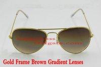 Gafas de sol clásicas de la manera de las mujeres de los hombres Marco del oro 58m m Pilot Brown Gradient Lens Gafas de sol al aire libre del recorrido Calidad excepcional con la caja