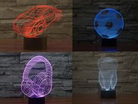Wholesale 7 colors changing Car LED Desk Lamps football earphone teeth Shape D LED Desk Lamp Night Lights Factory price