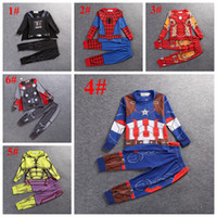 men cotton pajamas set - 2016 children pajamas cosplay Cartoon Boy Pajamas Sleepwear Star Wars Avengers Iron Man Spiderman boy tracksuit kids clothing set