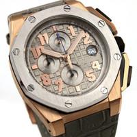 amethyst rubbers - New Mens Watch Quartz VK Movement Chronograph Stopwatch Royaloak Offshore Grey leather band original calsp men s watches mm