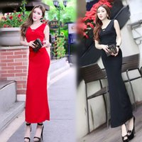 Wholesale Summer newest women red dress sexy V neck bosom hollow out slim long dresses hip split fashionable party dress