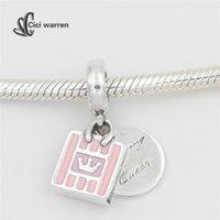 Nouvelle collection Shopping Queen Pink Enamel charms 925 en argent sterling dangle charme en forme de perles bracelet diy fine bijoux CH607