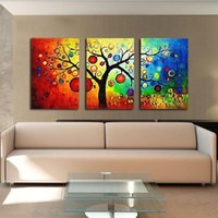 Wholesale 100 Hand Painted Modern Gustav Klimt Tree Of Life Abstract Oil Painting On Canvas Picture Panel Wall Art Home Decoration Set