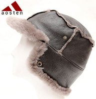 Wholesale Sheepskin wool one winter warm hats unisex fashion Leather hats Trapper hats Monopoly boutique factory first hand prices