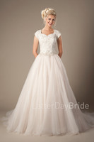 affordable couture - Vestido de Noiva Champagne Lace Tulle Modest Wedding Dresses With Cap Sleeves Beaded Belt Buttons Back Couture Made Wedding Gowns Affordable