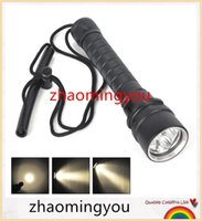 Wholesale HONG New Waterproof XM L L2 Warm White Light Yellow LED Diving Flashlight Torch Lanterna With Stepless dimming switch