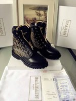 Wholesale Street Cool Design Brand Womens Ankle Boots Fashion Eyelet Hole Super Quality Balmain Waterproof Martin Boots
