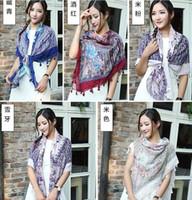 Wholesale NEW printed floral tassels Flower Square cotton shawls long muslim head wrap Muffler hijab wrap autumn scarves scarf