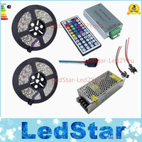 Wholesale 10m V rgb led strip light leds m Waterproof IP65 ribbon tiras tape RF Remote control Power adapter