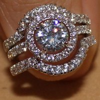 Wholesale Size Jewelry Womens in Wedding Engagement Band Ring Set Gift