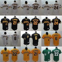 al por mayor andrew mccutchen jersey-Pittsburgh Pirates # 6 Marte # 21 Clemente # 22 Andrew McCutchen # 24 Bonds Flexbase Authentic Collection Jerseys