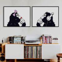 art gorillas - Nordic Black White Hippie Chimpanzee Gorilla Couple A4 Art Print Poster Funny Wall Picture Canvas Painting No Frame Home Decor