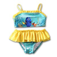 baby sun swimsuit - 2016 Finding Nemo Dory Baby Kids Swimsuit Two Pieces Nemo Dory Girls Tutu Dress Bikini Summer Sun resistant Swimwear Beach Bathing ruffle