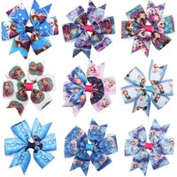 Wholesale frozen ribbon bows hair clip inch Frozen Bowknot Snow Queen Elsa Anna princess hair accessories cartoon hair bows clip B855