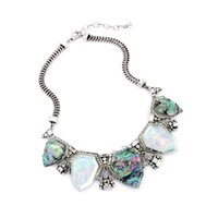 avery color - 2016 Avery Statement Necklace Color Design Stone Choker Necklaces Crystal Charms Vintage Silver Tonal for Lady