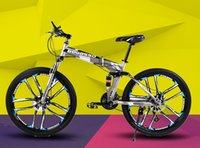 bicycle double - 26 Inch speed Folding Mountain Bike Double Shock Absorption Shift Speed bike Double disc One wheel Ten rim bicycle