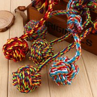 Wholesale New Lovely Puppy Dog Pet Chew Toy Cotton Braided Bone Rope Color Chew Knot