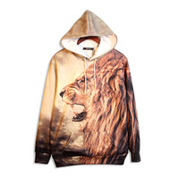 africa lions - 2016 new big size fat peoples cloth unisex loose colorfull big eye hoodie vivid Africa lion D print five size sweatshirts