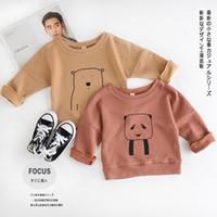Cheap 2016 new children boy girl Autumn Cartoon bear long sleeved T-shirt kid sweater Coat overcoat 4pcs lot