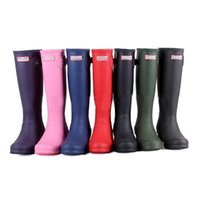 Wholesale 2016 Fashion Hunter Boots Women Wellies Rainboots Ms Glossy Hunter Wellington Rain Boots Wellington Knee Boots Fast Delivery DHL free Black