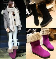 Wholesale Fashion Women Middle boot Winter Warm Snow Boots Shoes Black red and Light brown women Casual shoes size Free shopping