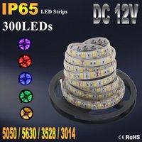 Wholesale Led Lamp Wire - IP20 IP65 Waterproof RGB LED Strip Flexible Lights DC12V SMD 5050 5630 3528 3014 300LED 5M Lampada LED Light Tape Ribbon Lamp