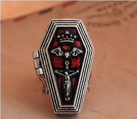 antique coffin - Fashion Jewelry Rings Fashion antique silver Gothic punk Bat Cross Open Box Coffin Casket vintage Magnet ring male