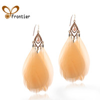 Wholesale Fashion Vintage The Feather Long Earrings For Women Birthday Gift Jewelry Fashion EB011