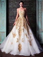 accents sleeve - Hot New Evening Dresses Rami Kadi Sweetheart Golden Appliques Beaded Crystal Accented White A Line Formal Prom Dresses New Fashion