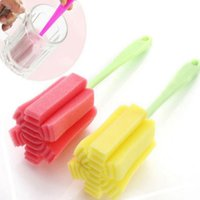 Wholesale 3pcs Plastic Handle Sponge Brush Bottle Glass Cup Washing Cleaner Cleaning Kitchen Tool Random Color