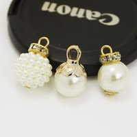 Wholesale 100Pcs Charm mm mm ABS imitation pearl beads pendant gold plated with crystal rhinestone Diy decoration