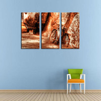 bicycle spray paint - 3 Picture Combination Wall Art Old Rusty Vintage Bicycle Near Painting Pictures Print On Canvas The Picture For Home Decor