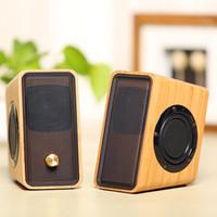 bamboo usb - Natural Bamboo Hi fi Multimedia Bass Stereo computer Speaker Full Bamboo Subwoofer Desktop Wooden wood Speaker for PC Laptop Cell phones