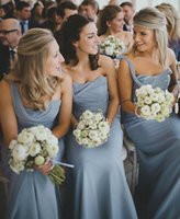 beautiful maids - 2016 Beautiful Dusty Blue Bridesmaid Dresses One Shoulder Ruched Chiffon Long Wedding Guest Dresses Cheap Maid Of Honor Party Prom Evening