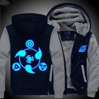 Cheap Wholesale-Naruto Hoodie New Anime Uchiha Sasuke Cosplay Coat Uzumaki Naruto Jacket Winter Men Thick Zipper Luminous Sweatshirts