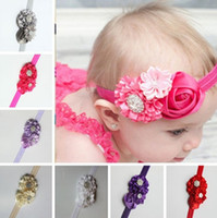 baby girl buttons - 2016 baby Girl stain rose Rhinestone Button newborn headband Elastic flowers Newborn Toddler headbands children Hair Accessories