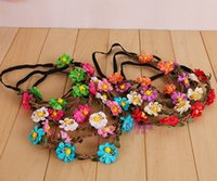 attraction hair flowers - Fashion attractions wreath explosion models candy colors beautiful flowers garlands Corolla Bridal Hair Accessories Child