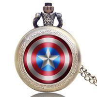 Wholesale Pocket Watch Marvel Comics Captain America Shield Weapon Retro Watch Men Women Gift