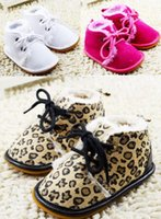 Wholesale Brown leopard lace slip bottom baby snow boots new style white princess toddler girls plus velvet warm boots