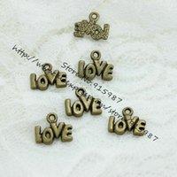100pcs / lot 10 * 12mm Antique Bronze pendentif en alliage matériel de bricolage mot Love Charms alphabet accessoires vintage boutique gros D0457
