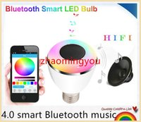 audio spot lighting - YON smart Bluetooth music Speaker Holiday LED Ball Bulb Audio Spot light Lamp E27 in Portable Wireless Colorful RGB Light