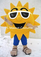 beach fancy dress costumes - Summer Beach Sunshine Cool Joyful Sunglasses Sun Mascot Costume Custom Cartoon Character Mascotte Suit Kit Fancy Dress