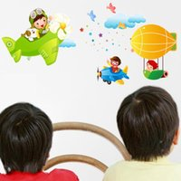 air story - Cartoon lovely children s room nursery wall stickers wall sticker air aircraft Story Wall Stickers AM012