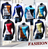 Wholesale 2016 New Men s V neck Long Sleeve Wild T Shirt Slim Mixed Colors Bottoming Raglan sleeve Shirt