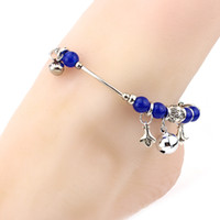 agate beach - Summer Beach Chain Anklet Bracelet K White Gold Plated Blue Agate Bells Fashion Foot Jewelry for Women Hot Gift