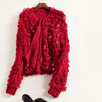 beads and pieces - Europe and the United States women s new autumn Hand woven in bead piece sweater long sleeved cardigan small coat
