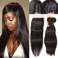 Wholesale Malaysian straight human full lace closure with bundles hair weaves A silk soft Malaysian straight human hair bundles with lace closure