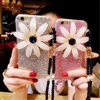 Elegantes cajas del teléfono celular de la manera Bling Rosa Púrpura Gris Teléfono Cubiertas con las flores para el iphone 7 7plus 6S 56